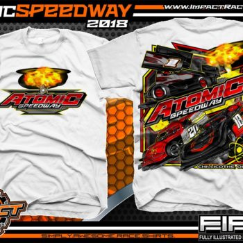 Atomic Speedway Lucas Oil World of Outlaws All Star Sprints Dirt Late Model AMRA Modified Dirt Track Racing T-Shirts White