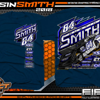 Austin Smith Lucas Oil Dirt Late Model Capital Race Cars Georgia Racing Shirts Heather Navy