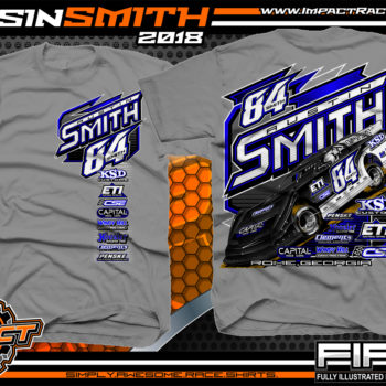 Austin Smith Lucas Oil Dirt Late Model Capital Race Cars Georgia Racing Shirts Medium Grey