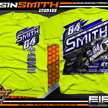 Austin Smith Lucas Oil Dirt Late Model Capital Race Cars Georgia Racing Shirts Safety Yellow