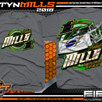 Austyn Mills Florence Speedway Lucas Oil Dirt Late Model Racing Shirts Kentucky Charcoal