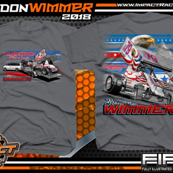 Brandon Wimmer Outlaw Sprint Car All Star Sprints Atomic Speedway Racing Shirt Charcoal