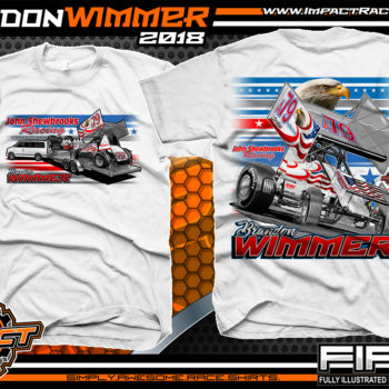 Brandon Wimmer Outlaw Sprint Car All Star Sprints Atomic Speedway Racing Shirt White