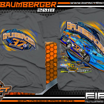 Brian Baumberger Lucas Oil Dirt Late Model Racing Shirts Charcoal