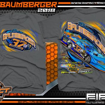Brian Baumberger Lucas Oil Dirt Late Model Racing Shirts Charcoal