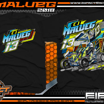 CJ Malueg Open Wheel Sprint Car Racing T-Shirts Black