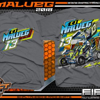 CJ Malueg Open Wheel Sprint Car Racing T-Shirts Charcoal