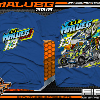 CJ Malueg Open Wheel Sprint Car Racing T-Shirts Royal