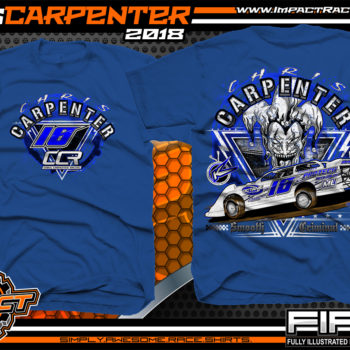 Chris Carpenter Kryptonite Race Cars Ohio Valley Lucas Oil Dirt Late Model Racing Shirts West Virginia Royal