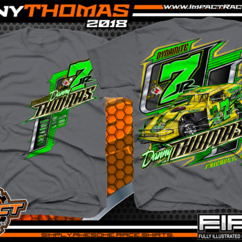 Danny Thomas Dirt Track Modified Racing Shirts West Virginia Charcoal