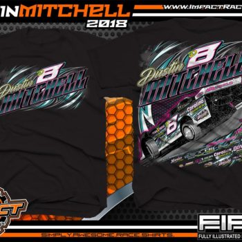 Dustin Mitchell North Carolina Dirt Late Model Lucas Oil Racing Shirts Black