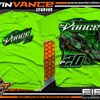 Ervin Vance Kentucky UMP Dirt Modified Racing Shirts Neon Green