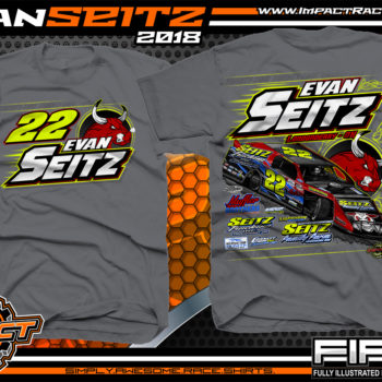 Evan Seitz Ohio UMP Modified Dirt Track Racing T-Shirts Charcoal