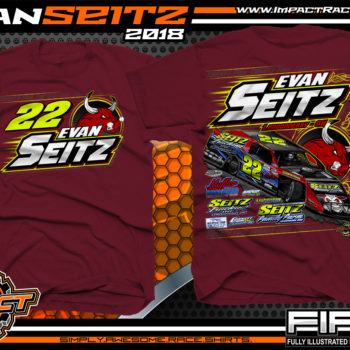 Evan Seitz Ohio UMP Modified Dirt Track Racing T-Shirts Maroon