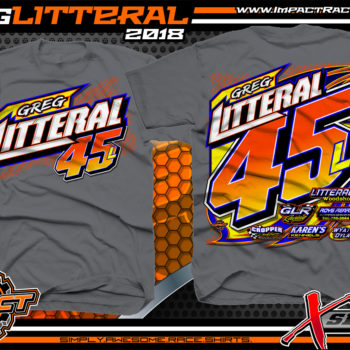 Greg Litteral Portsmouth Raceway Park UMP Sport Mod Dirt Track Racing Shirt Charcoal