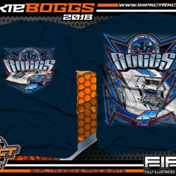 Jackie Boggs World of Outlaws Dirt Late Model Racing Shirts Navy