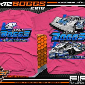 Jackie Boggs Last True Outlaw Lucas Oil Dirt Late Model World of Outlaws WOO Kentucky Dirt Late Model Shirts Neon Pink