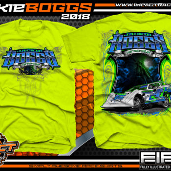 Jackie Boggs Last True Outlaw Lucas Oil Dirt Late Model World of Outlaws WOO Kentucky Dirt Late Model Shirts Safety Yellow