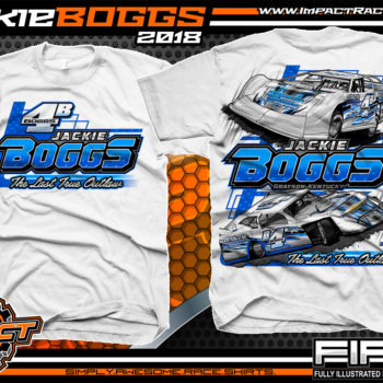 Jackie Boggs Last True Outlaw Lucas Oil Dirt Late Model World of Outlaws WOO Kentucky Dirt Late Model Shirts White