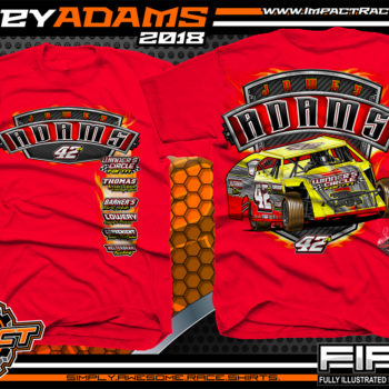 Jamey Adams UMP Modified Dirt Track Racing Shirts Red