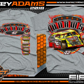 Jamey Adams UMP Modified Dirt Track Racing Shirts Sport Grey