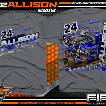 Kobe Allison Ohio Outlaw Winged Sprint Car Racing T-Shirts Charcoal