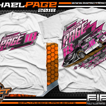 Michael Page Georgia Dixie Speedway Lucas Oil Late Model Shirts White
