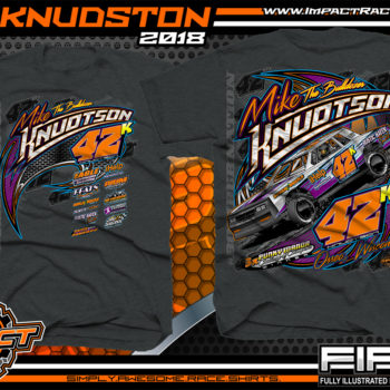 Mike Knudston WISSOTA Street Stock Dirt Racing Shirts Black Heather