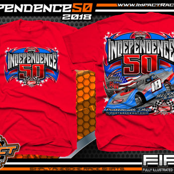 Portsmouth Raceway Park Independence 50 Lucas Oil Late Model Series Dirt Track Event Shirts Ohio Red