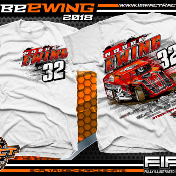 Robbe Ewing UMP Dirt Car Modified Dirt Racing Shirts Missouri White
