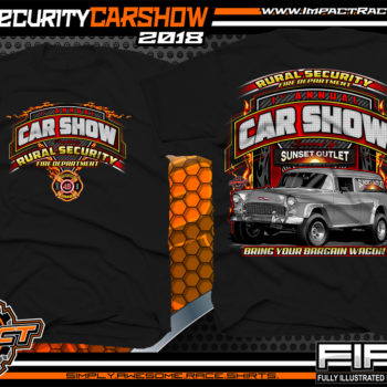 Rural Security Sunset Outlet Benefit Car Show Fire Dept Custom Truck T-Shirts Black