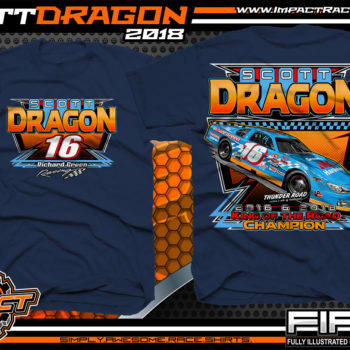 SCott Dragon American Canadian Tour Asphalt Late Model Racing Shirts Vermont Navy