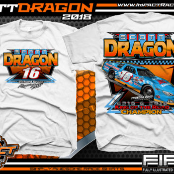SCott Dragon American Canadian Tour Asphalt Late Model Racing Shirts Vermont White