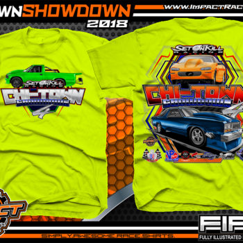 Set on Kill ChiTown Showdown Drag Racing Shirts Safety Yellow