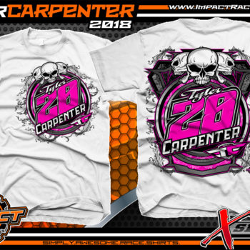Tyler Carpenter Kryptonite Race Cars West Virginia Ohio Valley Dirt Late Model Shirts White