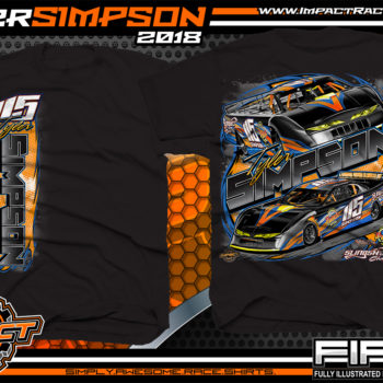 Tyler Simpson Asphalt Late Model Racing T-Shirts Florida Black