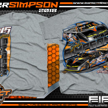 Tyler Simpson Asphalt Late Model Racing T-Shirts Florida Sport Grey