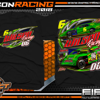 Wilson Racing WISSOTA Modified Dirt Racing T-Shirts Ontario Canada Black