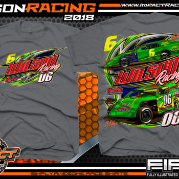 Wilson Racing WISSOTA Modified Dirt Racing T-Shirts Ontario Canada Charcoal