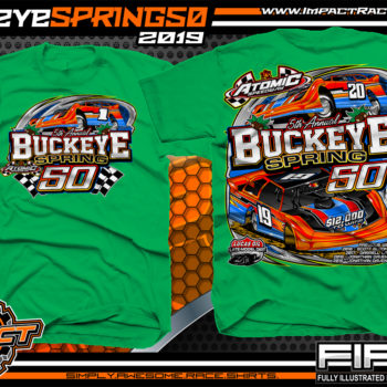Atomic-Speedway-Lucas-Oil-Dirt-Late-Model-Series-Buckeye-Spring-50-Event-Racing-Shirt-Irish-Green