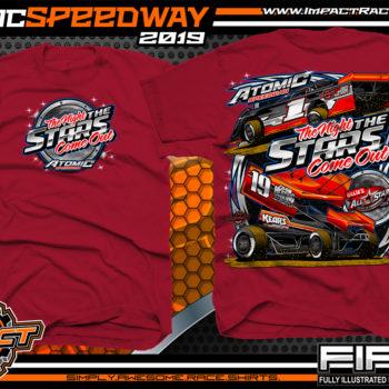 Atomic-Stars-All-Star-Circuit-of-Champion-Sprint-Cars-Racing-TShirts-Event-Shirts-Dirt-Racing-Tees-Cardinal-Red