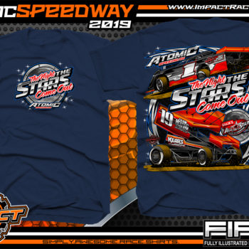 Atomic-Stars-All-Star-Circuit-of-Champion-Sprint-Cars-Racing-TShirts-Event-Shirts-Dirt-Racing-Tees-Navy