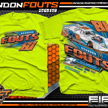 Brandon-Fouts-Racing-TShirts-Lucas-Oil-Dirt-Late-Model-Series-Shirts-Kentucky-Race-Tees-4B-Motorspots-Safety-Yellow