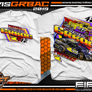 Chris-Grbac-Dirt-Racing-T-Shirt-Modified-Super-Dirtcar-Big-Block-Modified-New-Jersey-White