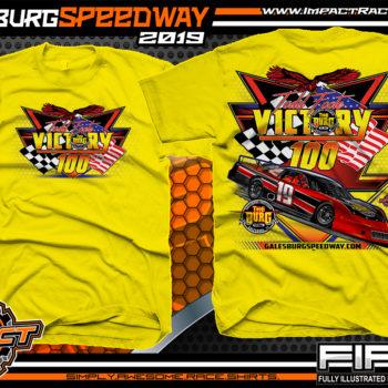 Galesburg-Victory-100-Michigan-Event-T-Shirts-Late-Model-Asphalt-Racing-Shirts-Pavement-Race-Tees-Daisy-Yellow