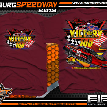 Galesburg-Victory-100-Michigan-Event-T-Shirts-Late-Model-Asphalt-Racing-Shirts-Pavement-Race-Tees-Maroon