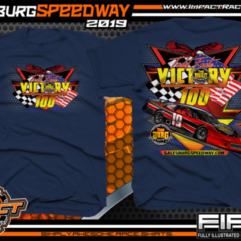 Galesburg-Victory-100-Michigan-Event-T-Shirts-Late-Model-Asphalt-Racing-Shirts-Pavement-Race-Tees-Navy