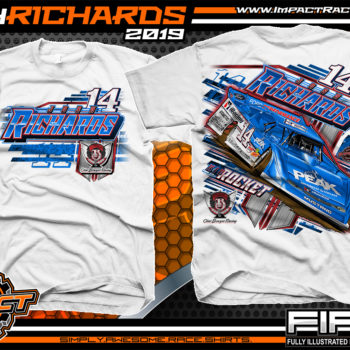 Josh-Richards-Lucas-Oil-Dirt-Late-Model-Clint-Bowyer-Racing-White-Cotton-T-Shirt