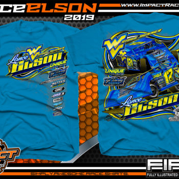 Lance-Elson-Ridge-Runner-Dirt-Late-Model-Racing-T-Shirts-Modified-Tees-West-Virginia-Neon-Blue