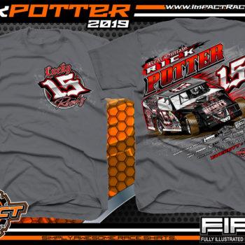 Rick-Potter-Lucky-15-Racing-T-Shirts-Modified-Race-Car-Tees-Pennsylvania-Charcoal